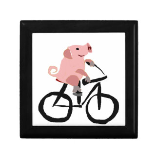 Funny Pink Pig Riding Bicycle Gift Box