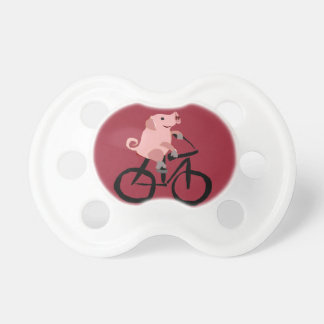 Funny Pink Pig Riding Bicycle Pacifier