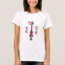Funny Pink Power Giraffe Cartoon T-Shirt