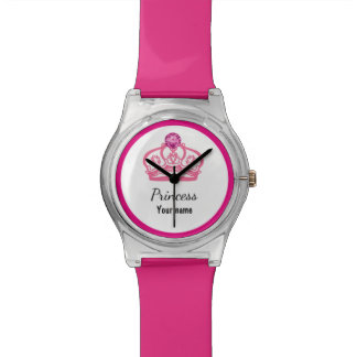 Funny Pink Priness Royal Crown Wrist Watches