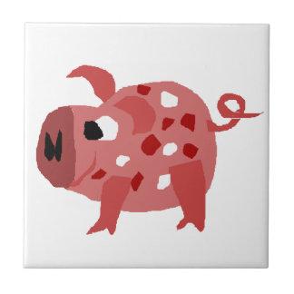Funny Pink Spotted Pig Ceramic Tile