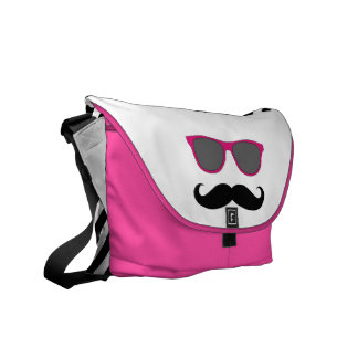 Funny Pink Sunglasses with Mustache Messenger Bags