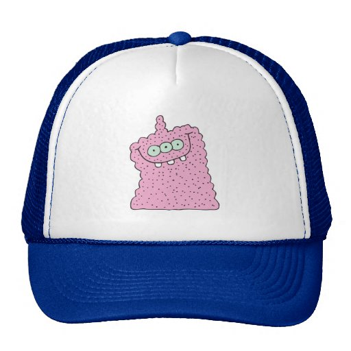 funny pink three-eyed monster trucker hat