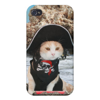 Funny Pirate Cat Kitty Case For iPhone 4