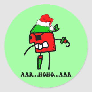 Funny pirate Christmas Classic Round Sticker