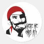 Funny Pirate Classic Round Sticker