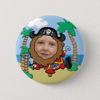 Funny Pirate Cut Out Face Template Pinback Button