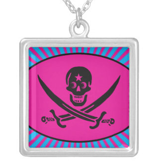 Funny Pirate Deluxe Square Pendant Necklace