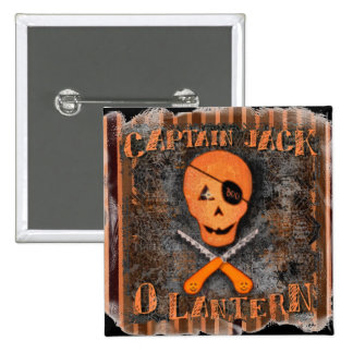 Funny Pirate Halloween Jolly Roger Button