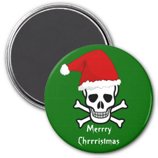Funny Pirate Merry Christmas Greeting Arrrgh Matey 3 Inch Round Magnet