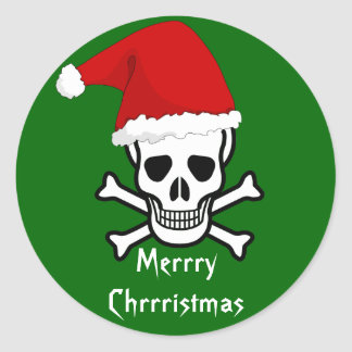 Funny Pirate Merry Christmas Greeting Arrrgh Matey Classic Round Sticker