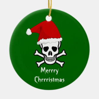 Funny Pirate Merry Christmas Greeting Arrrgh Matey Double-Sided Ceramic Round Christmas Ornament