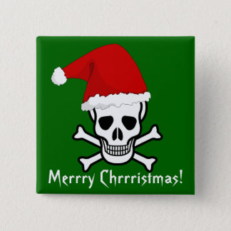 Funny Pirate Merry Christmas Greeting Arrrgh Matey Pinback Button