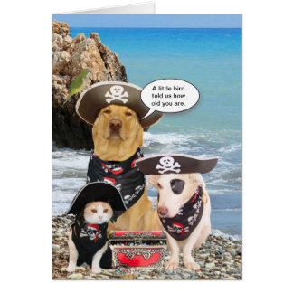 Funny Pirate Pets Birthday Card