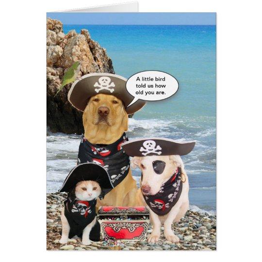 Funny Pirate Pets Birthday Card – Pirate Birthday Card