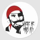 Funny Pirate Round Stickers