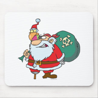funny pirate santa and xmas parrot cartoon mouse pads