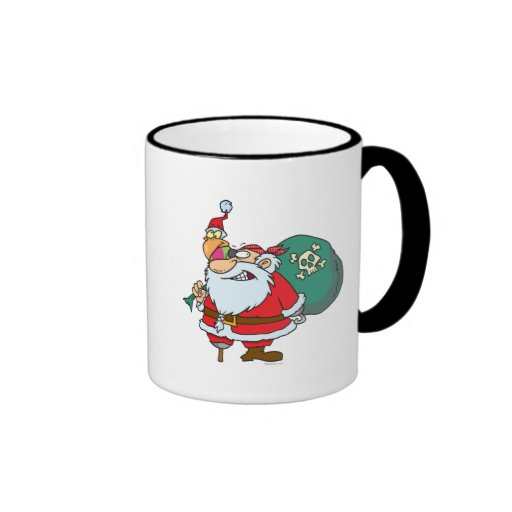 funny pirate santa and xmas parrot cartoon mug
