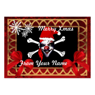 Funny pirate Santa personalized Christmas tag Business Cards