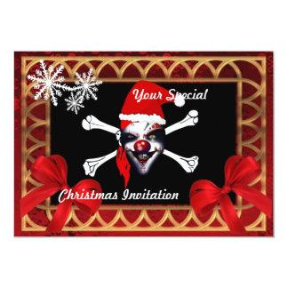 Funny pirate skull,  Christmas 5x7 Paper Invitation Card