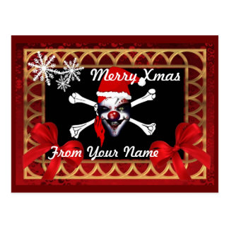 Funny Pirate  skull personalized  christmas Postcard