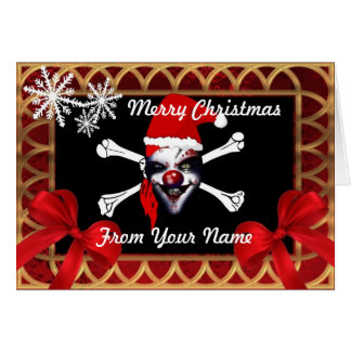 Funny pirate skull santa   personalized christmas card