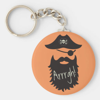 Funny Pirate with Eyepatch Arrrgh! Basic Round Button Keychain