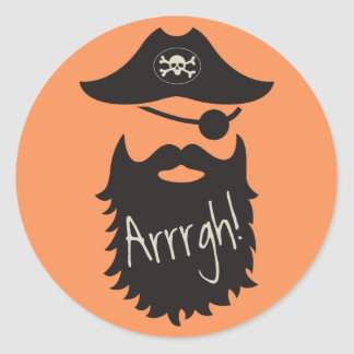 Funny Pirate with Eyepatch Arrrgh! Classic Round Sticker