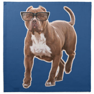 Funny pit bull in glasses cloth napkin