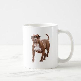 Funny pit bull in glasses coffee mug