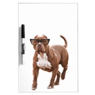 Funny pit bull in glasses Dry-Erase board