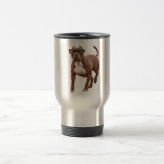 Funny pit bull in glasses travel mug