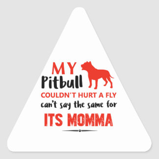 Funny Pit-bull Mommy designs Triangle Sticker