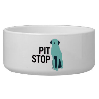 Funny Pit Stop Pit Bull Water Food Dog Bowl