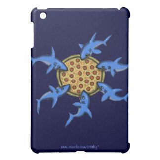 Funny pizza eating sharks cartoon art ipad case