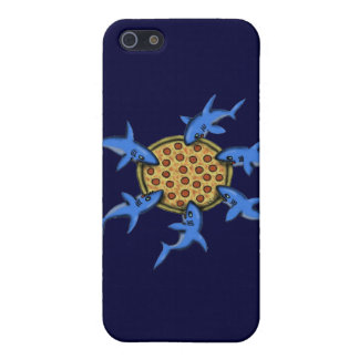 Funny pizza eating sharks cartoon art iphone case case for iPhone 5