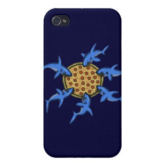 Funny pizza eating sharks cartoon art iphone case covers for iPhone 4