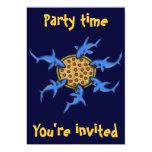 "Funny pizza eating sharks party invitation card 5"" x 7"" invitation card"