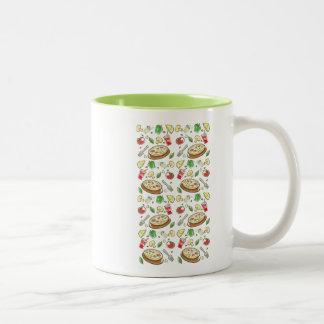 funny pizza pattern vol1 Two-Tone coffee mug