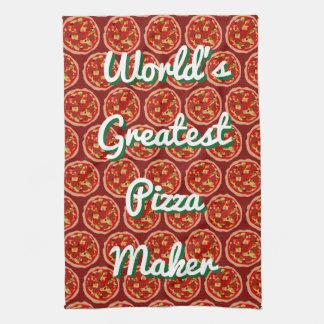Funny pizza print kitchen dish towel gift idea