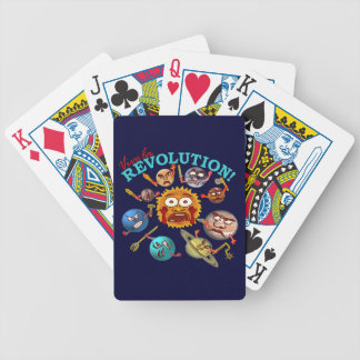 Funny Planet Revolution Solar System Cartoon Bicycle Playing Cards