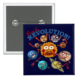 Funny Planet Revolution Solar System Cartoon Button