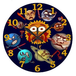 Funny Planet Revolution Solar System Cartoon Round Wall Clock