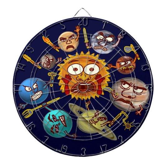 Funny Planet Revolution Solar System Cartoon Dart Board