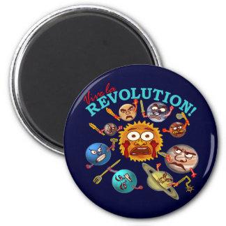 Funny Planet Revolution Solar System Cartoon Refrigerator Magnets