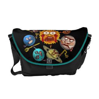 Funny Planet Revolution Solar System Cartoon Messenger Bag