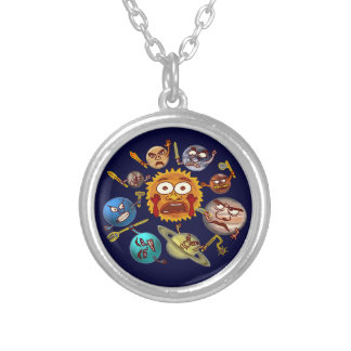 Funny Planet Revolution Solar System Cartoon Personalized Necklace