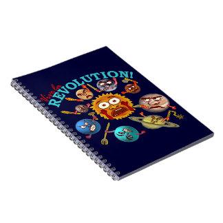 Funny Planet Revolution Solar System Cartoon Notebook
