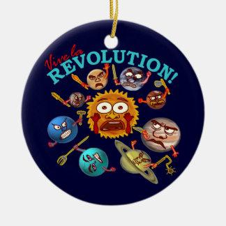 Funny Planet Revolution Solar System Cartoon Double-Sided Ceramic Round Christmas Ornament