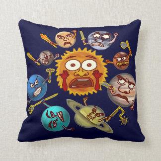 Funny Planet Revolution Solar System Cartoon Throw Pillows